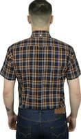 Relco Mens Navy Mustard Check Short Sleeve Button Down Shirt Spring '21 Range